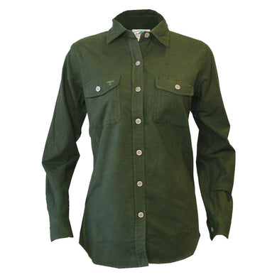 Women's Arborwear Timber Chamois Shirt in Forest Green from the front view