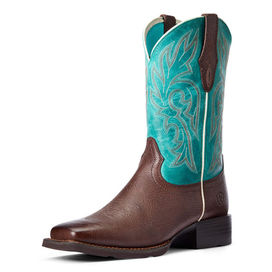 Women's Ariat Cattle Drive Western Boot in Dark Cottage/Turqouise