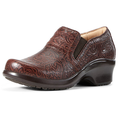 Women's Ariat Expert Clog SD Work Shoe in Tooled Brown
