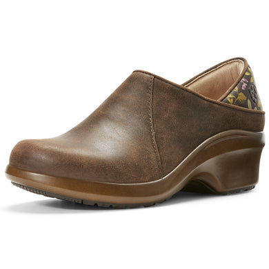 Women's Ariat Hera Expert Clog Work Shoe in Antique Brown