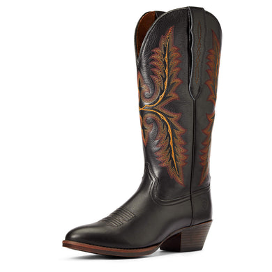 Women's Ariat Heritage Elastic Calf Western Boot in Black Deertan