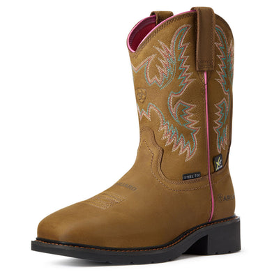 Women's Ariat Krista MetGuard Steel Toe Work Boot in Dark Brown