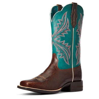 Women's Ariat West Bound Western Boot in Brown Patina/Blue Grass
