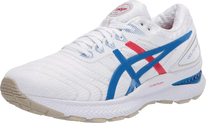 Women's Asics Gel Nimbus 22 Retro Tokyo Running Shoe In White Electric Blue