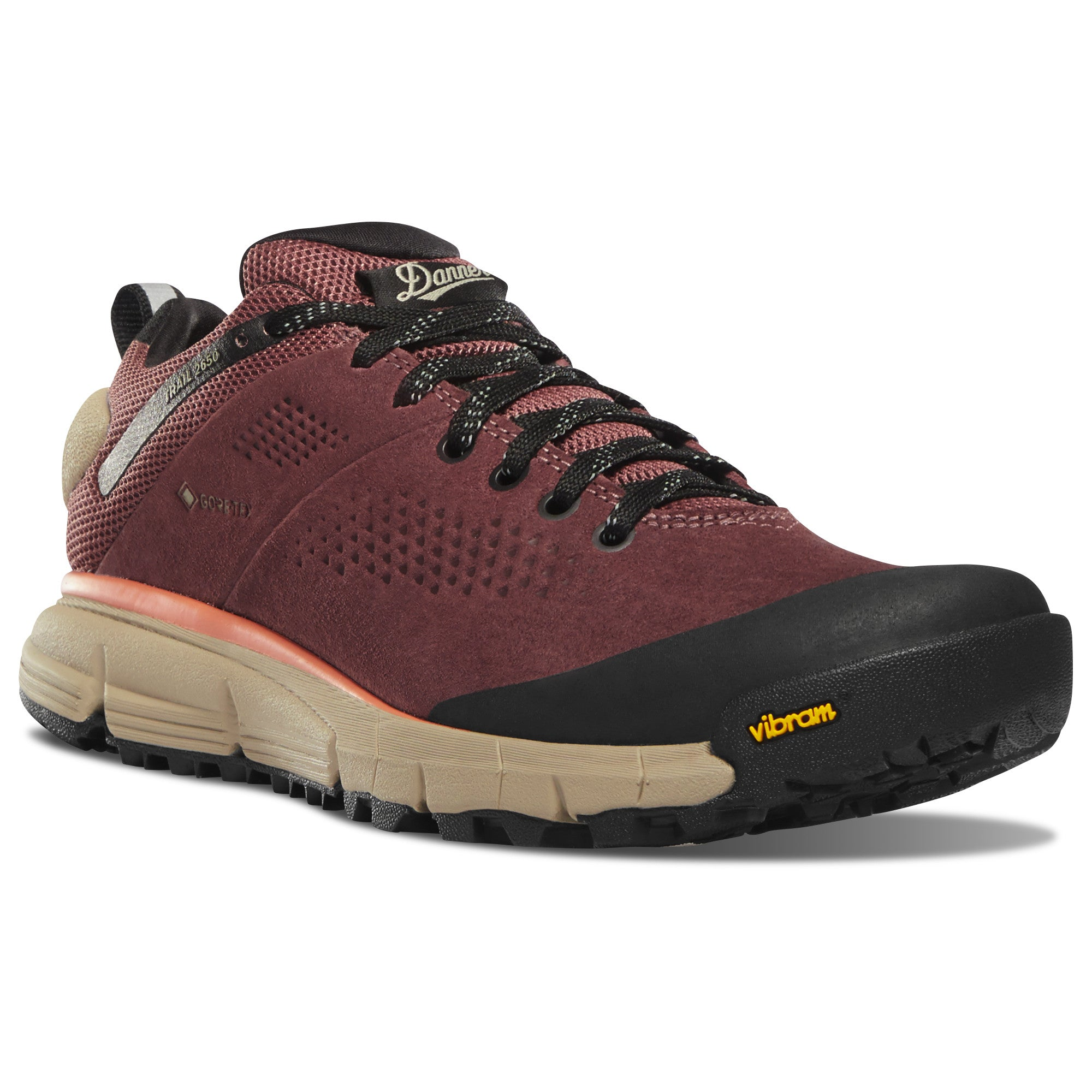 "Danner Women's Trail 2650 3"" Gore-Tex Waterproof Hiking Shoe in Mauve/Salmon from the side"