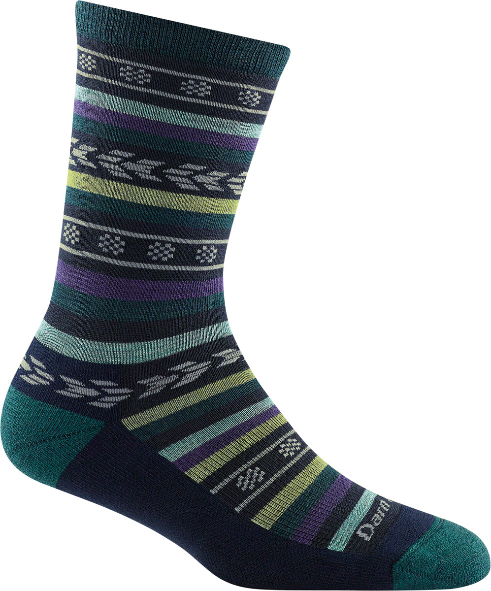 Women's Darn Tough Bronwyn Crew Light Cushion Sock in Dark Teal from the side view