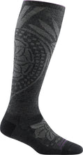 Load image into Gallery viewer, Women's Darn Tough Chakra Knee High Graduated Light Compression Sock in Charcoal from the side view