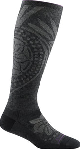 Women's Darn Tough Chakra Knee High Graduated Light Compression Sock in Charcoal from the side view