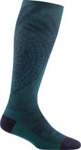 Load image into Gallery viewer, Women's Darn Tough Chakra Knee High Graduated Light Compression Sock in Dark Teal from the side view