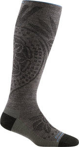 Women's Darn Tough Chakra Knee High Graduated Light Compression Sock in Taupe from the side view