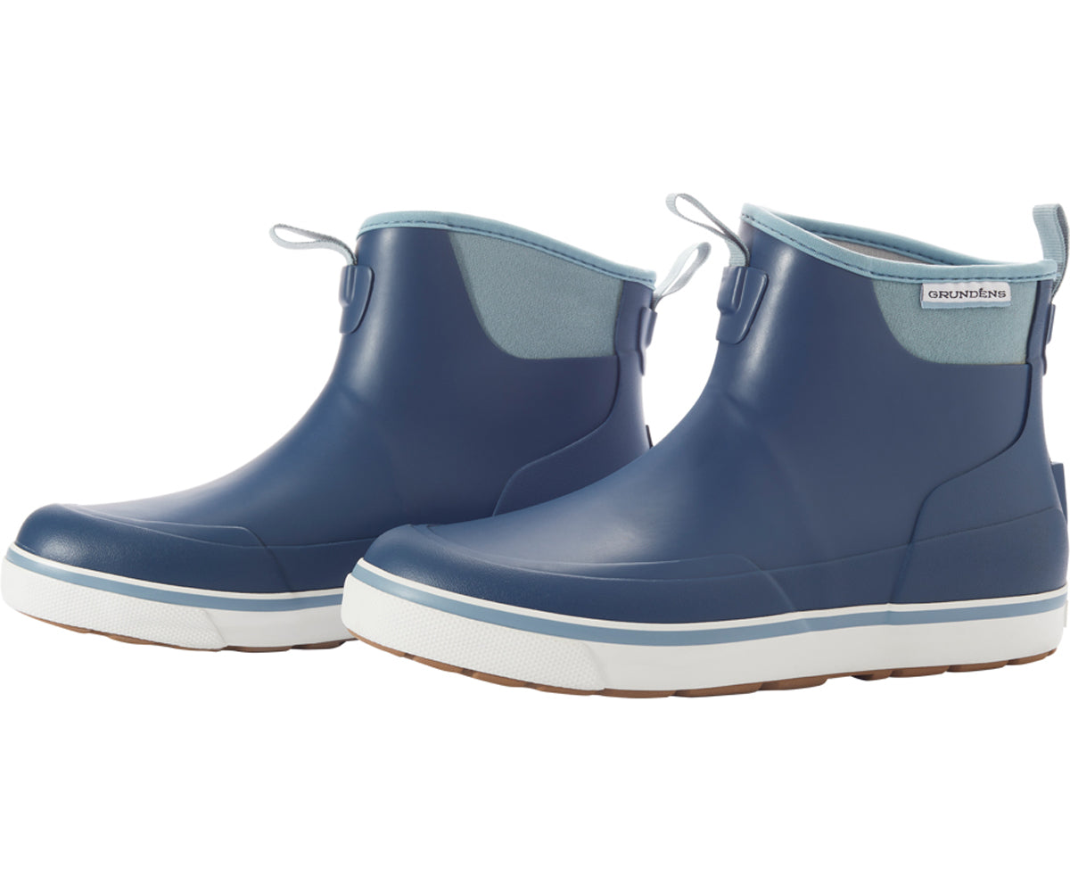 Pair of Women's Deck Boss Ankle Boot in Deep Water Blue from the side view