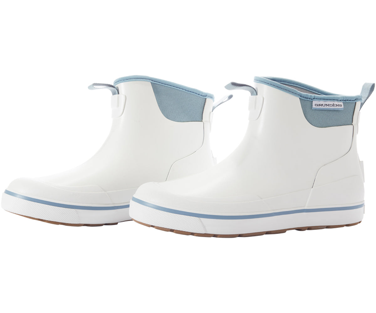 Pair of Women's Deck Boss Ankle Boot in White from the side view