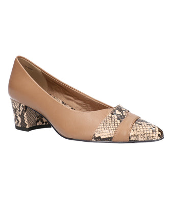 Women's Easy Street Elle Pump Shoe in Natural/Snake from the front view