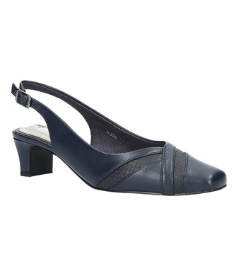 Women's Easy Street Ginny Pump Shoe in Navy/Snake from the front view