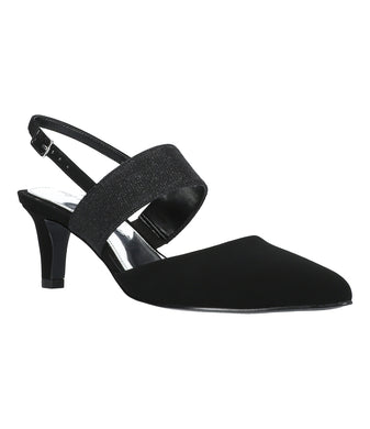 Women's Easy Street Gisella Pump Shoe in Black Lamy/Glitter from the front view
