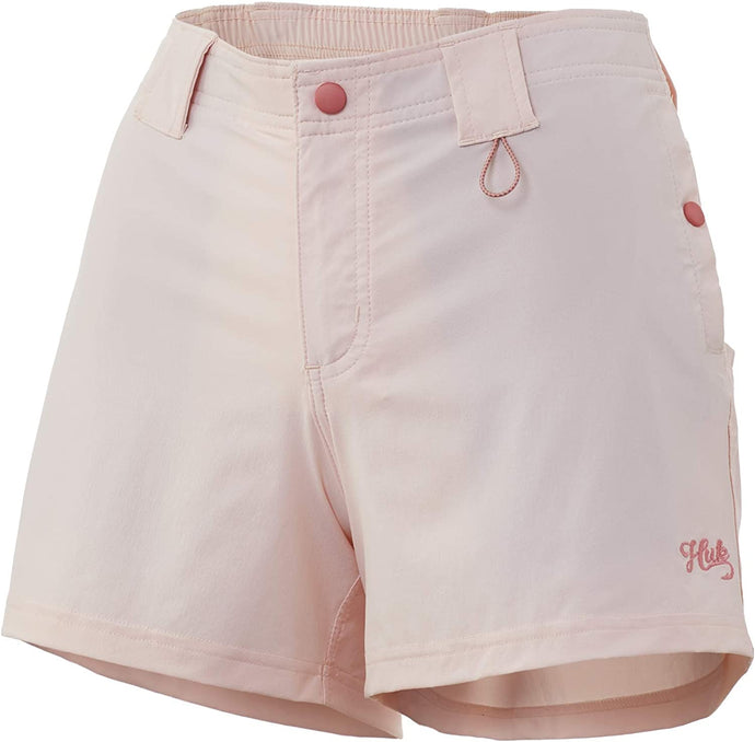 Women's Huk Let's Go Fish Short in Bone view from the front