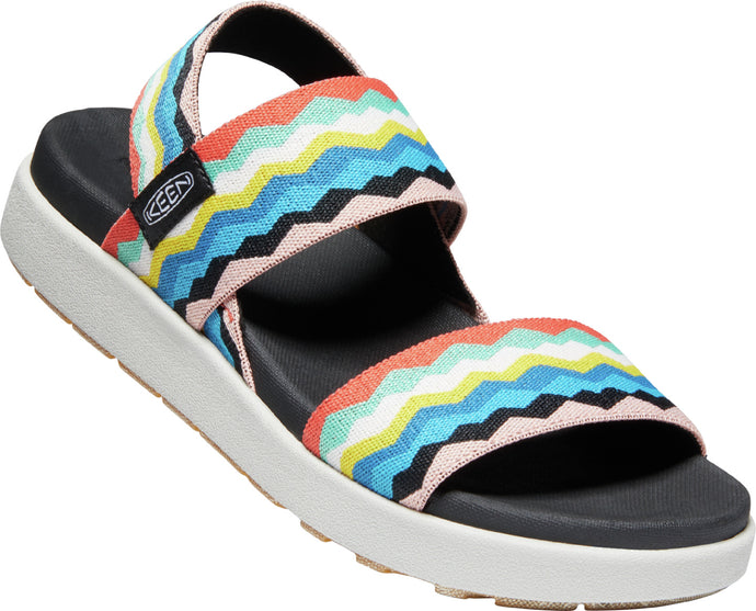 Women's KEEN Elle Backstrap Stretch Sandal in Black/Peach Pearl from the front