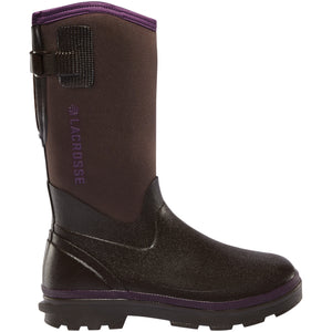 "LaCrosse Women's Alpha Range 12"" 5.0mm Waterproof Outdoor Boot in Chocolate/Plum from the side"