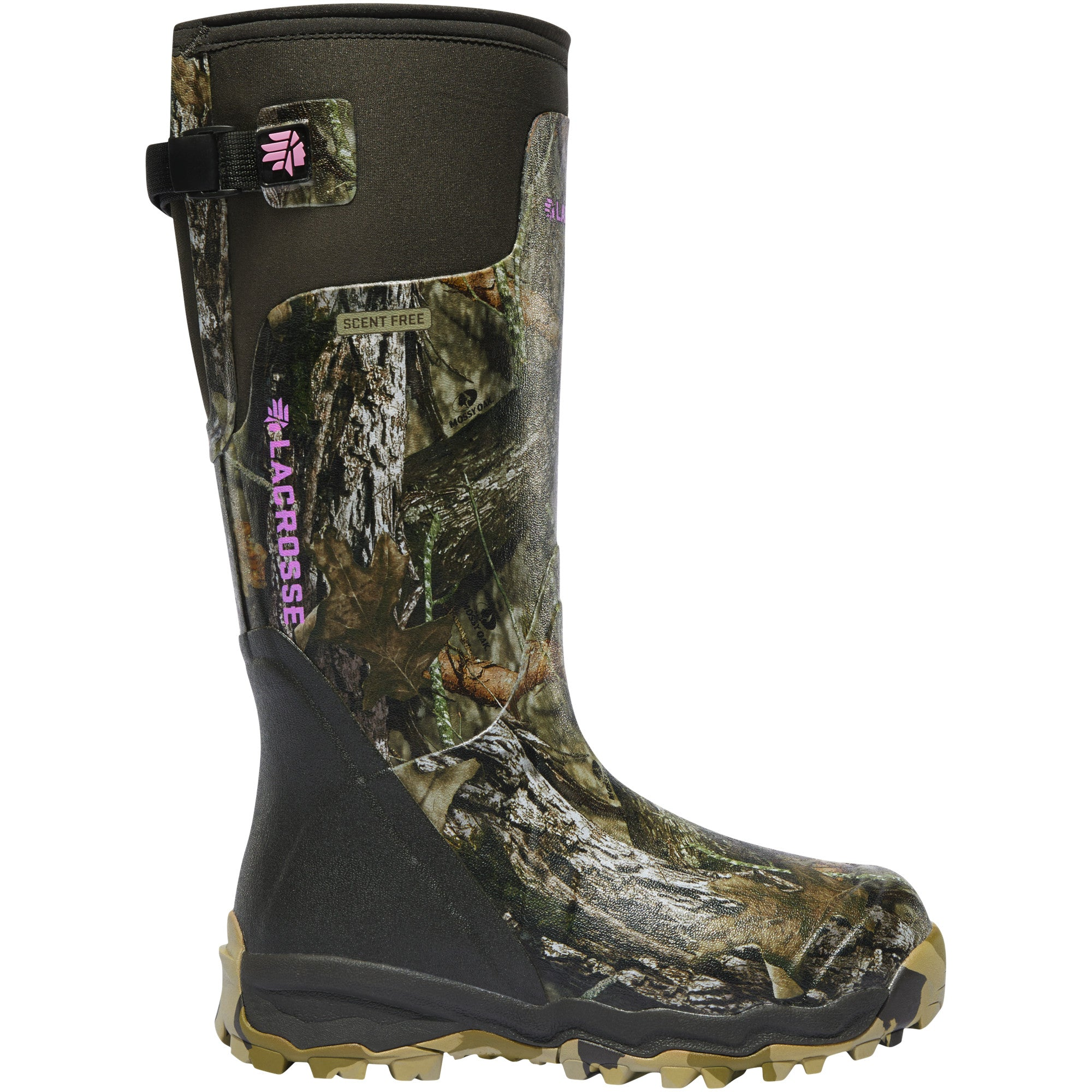 "LaCrosse Women's Alphaburly Pro 15"" Waterproof Hunting Boot in Mossy Oak Break-up Country from the side"