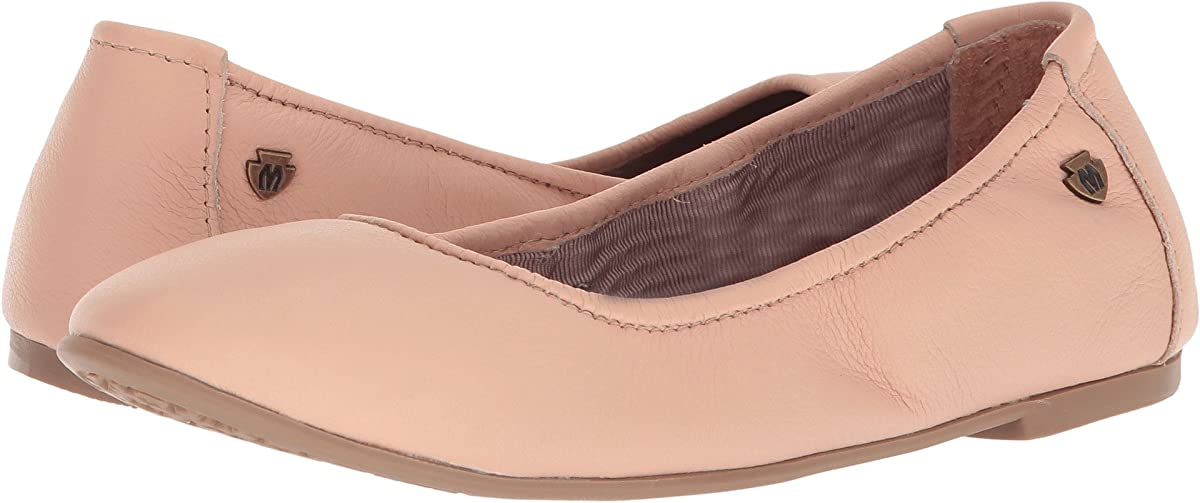 Women's Minnetonka Anna Ballet Flat Shoe in Blush from the side view