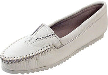 Load image into Gallery viewer, Women's Minnetonka Deerskin Gore Front Moccasin White in White