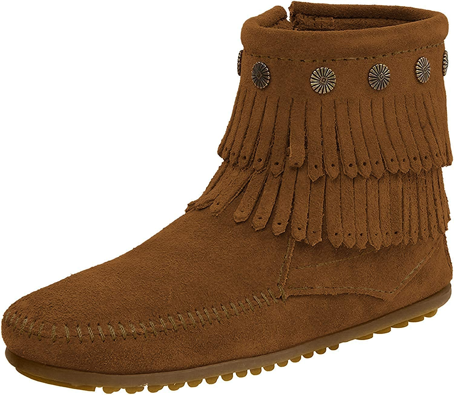 Women's Minnetonka Double Fringe Side Zip in Brown
