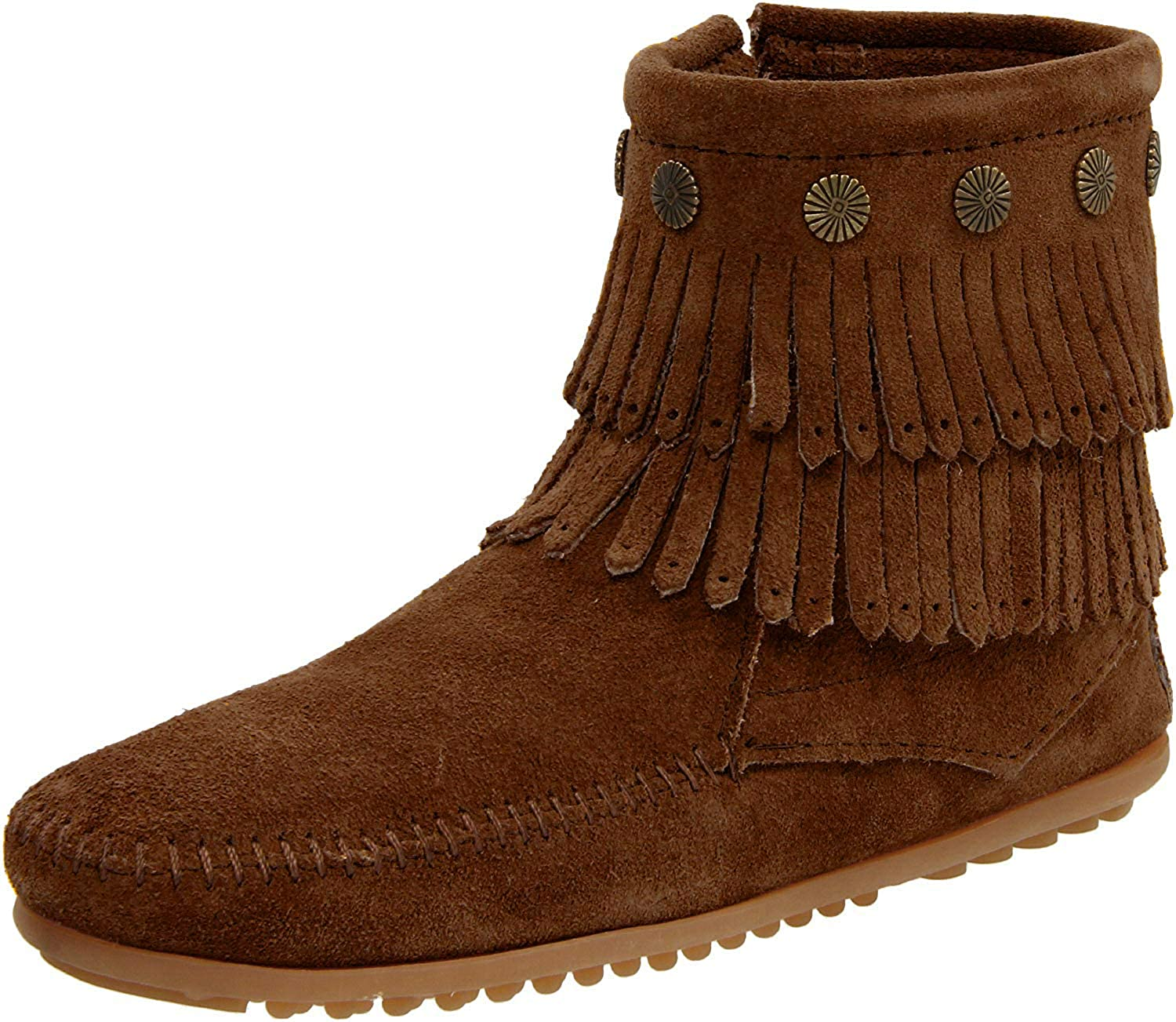 Women's Minnetonka Double Fringe Side Zip in Dusty Brown