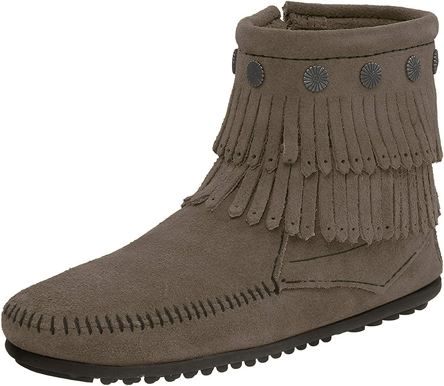 Women's Minnetonka Double Fringe Side Zip in Grey