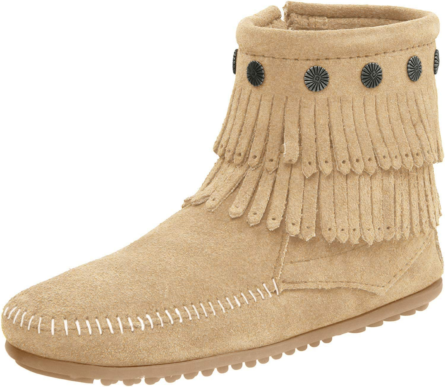 Women's Minnetonka Double Fringe Side Zip Boot in Stone
