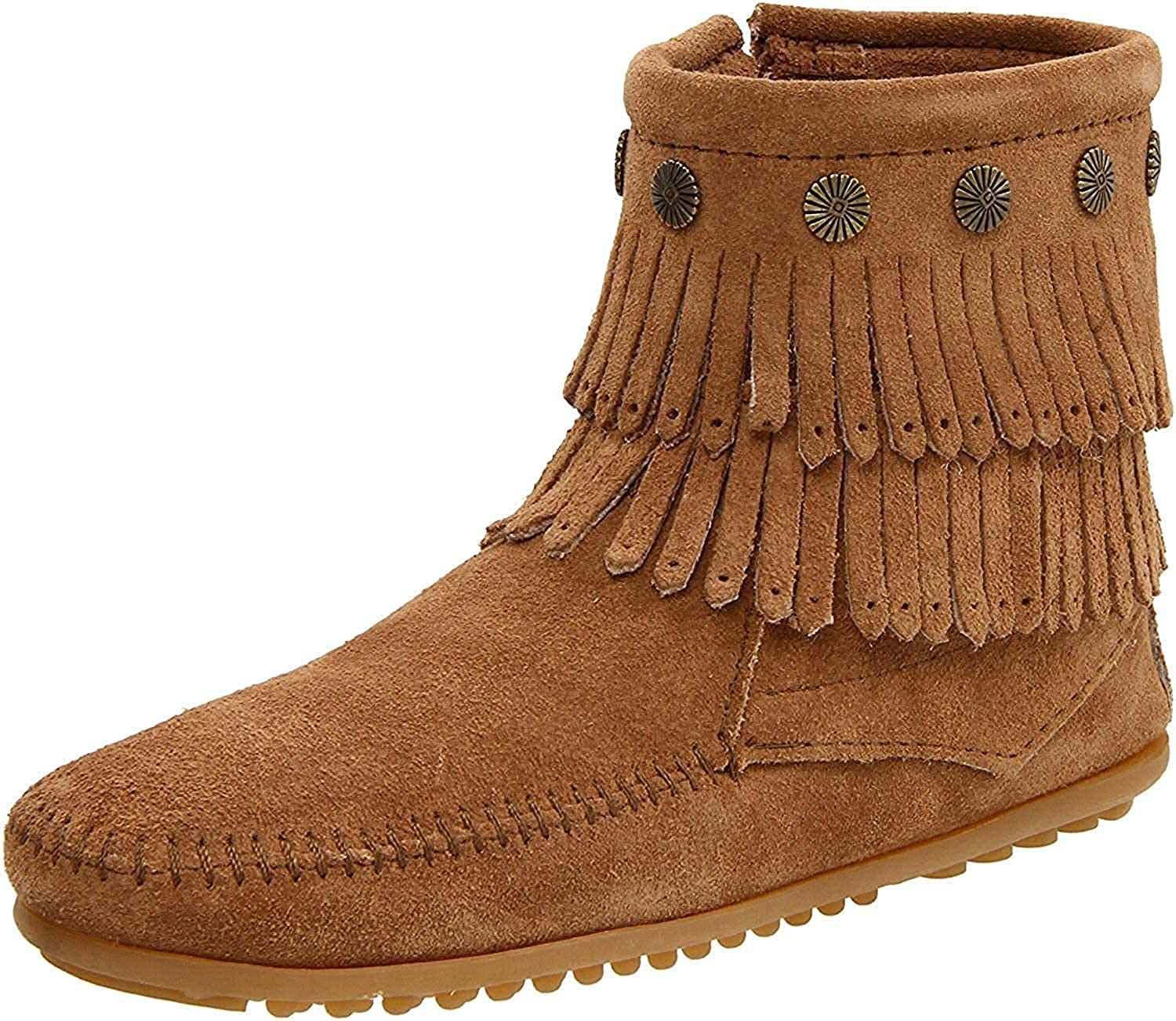 Women's Minnetonka Double Fringe Side Zip in Taupe