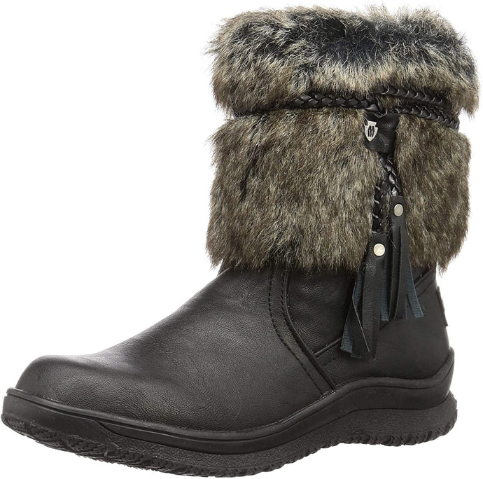 Women's Minnetonka Everett Faux Fur Slip-On Boot in Black from the front view