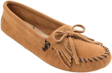 Women's Minnetonka Kilty Softsole Moccasin in Taupe