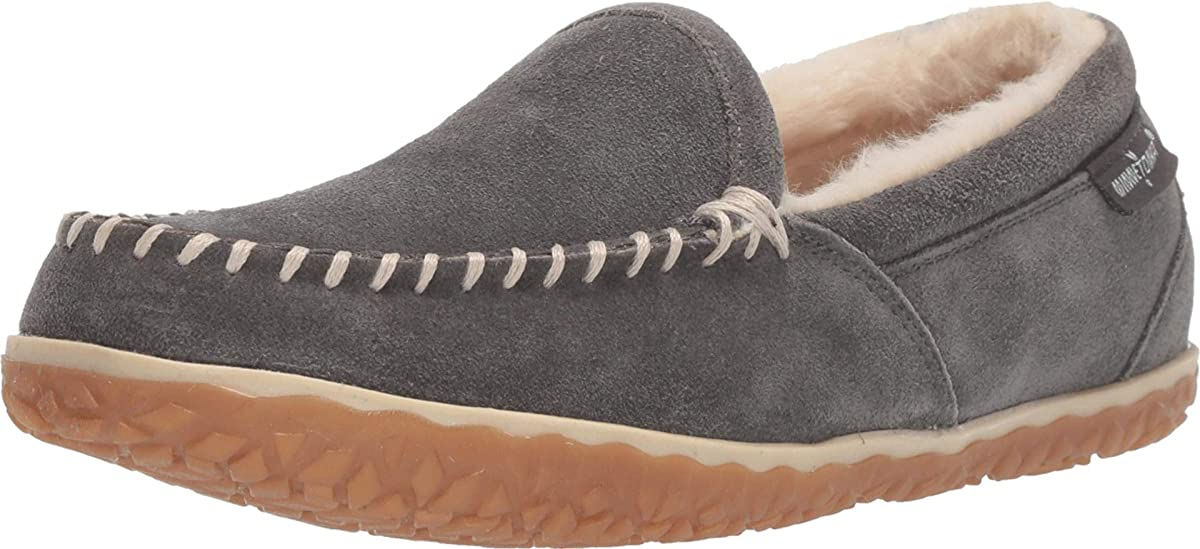 Women's Minnetonka Tempe Moccasin Slipper in Grey from the side view