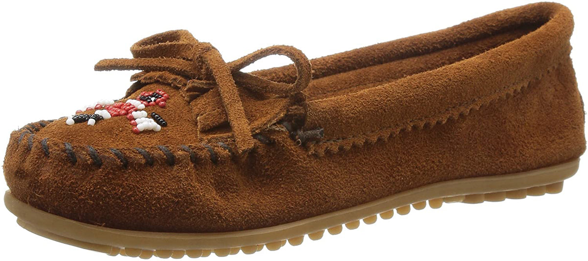 Women's Minnetonka Thunderbird II Mocassin in Brown from the front view