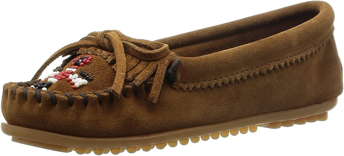 Women's Minnetonka Thunderbird II Mocassin in Dust Brown from the front view