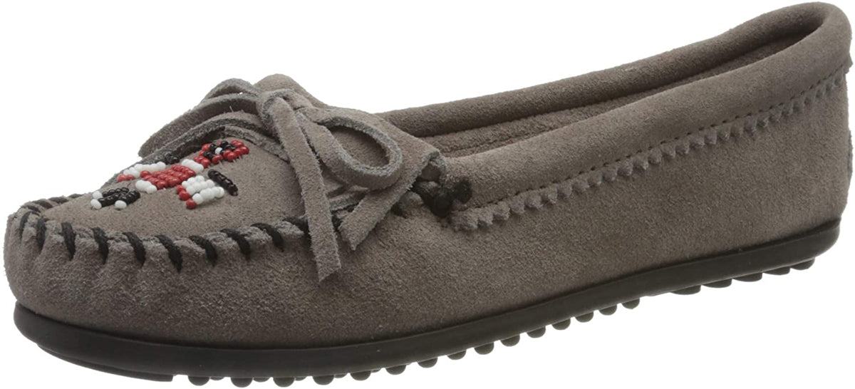 Women's Minnetonka Thunderbird II Mocassin in Grey from the front view