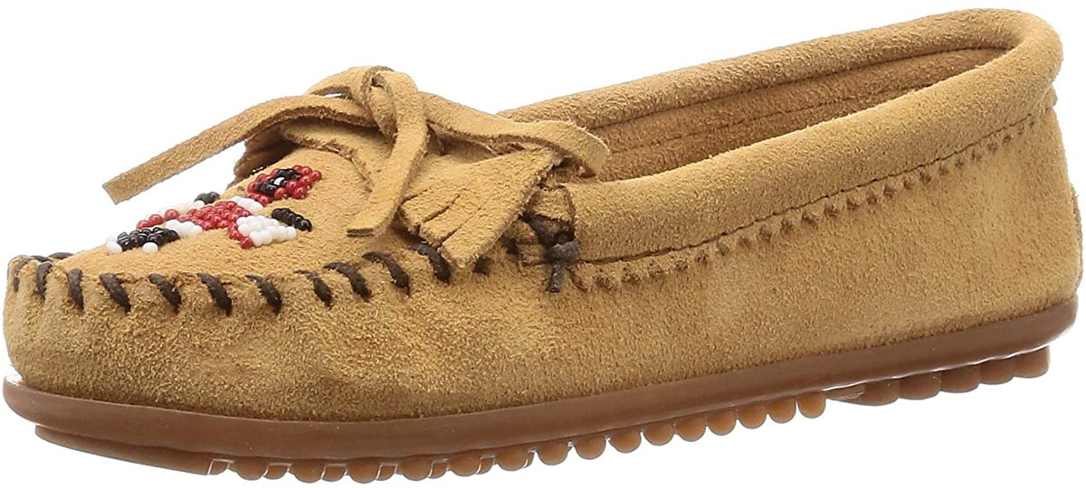 Women's Minnetonka Thunderbird II Mocassin in Taupe from the front view
