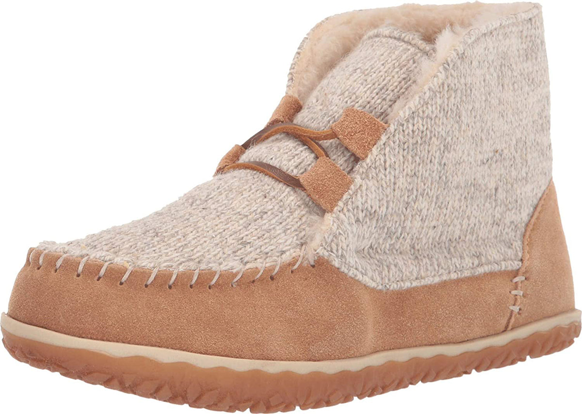 Women's Minnetonka Torrey Laceup Bootie Slipper in Cinnamon from the front view