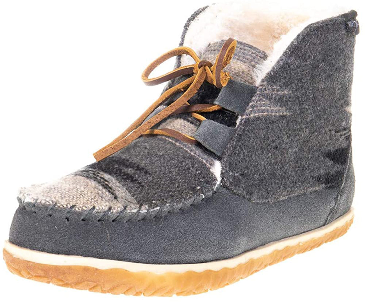 Women's Minnetonka Torrey Laceup Bootie Slipper in Grey from the front view