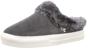 Women's Minnetonka Windy Slip-On Sneaker in Charcoal from the front view