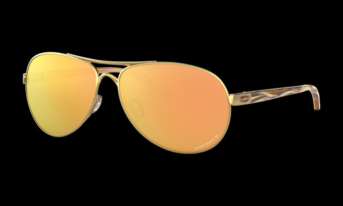Women's Oakley Feedback Sunglasses in Polished Gold Prizm Rose Gold Polarized