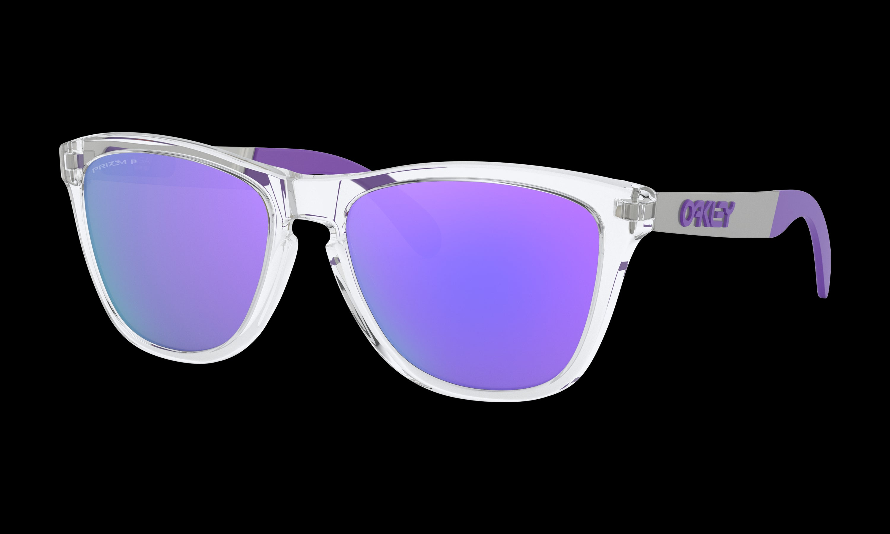 Women's Oakley Frogskins Mix Sunglasses in Polished Clear Prizm Violet Polarized