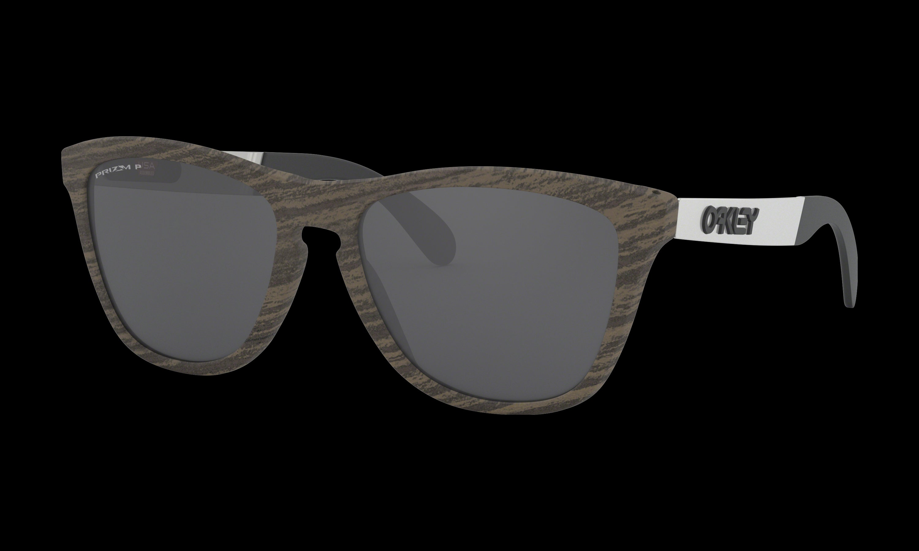 Women's Oakley Frogskins Mix Sunglasses in Woodgrain Prizm Black Polarized