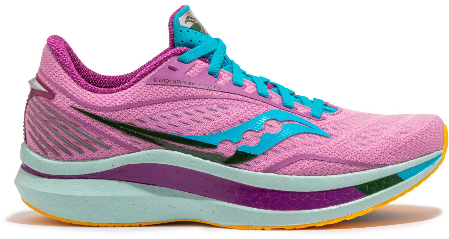 Women's Saucony Endorphin Speed Running Shoe in Future/Pink from the side view