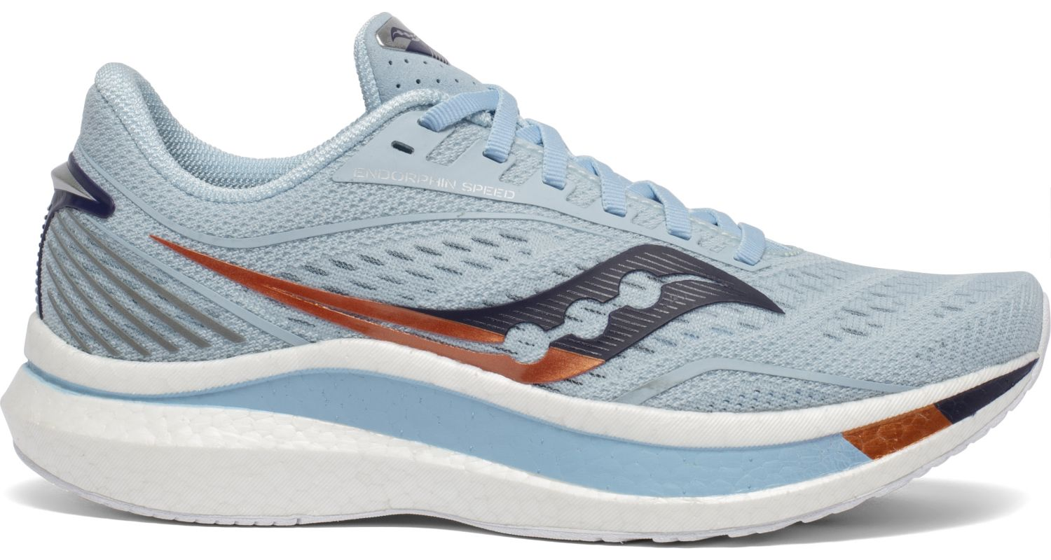 Women's Saucony Endorphin Speed Running Shoe in Sky/Midnight from the side view