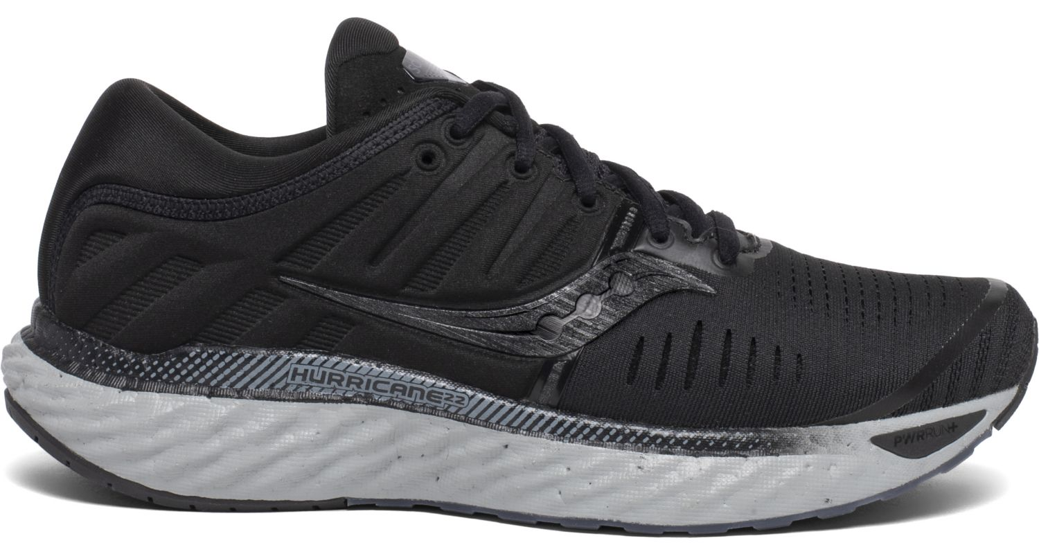 Saucony Women's Hurricane 22 Running Shoe in Blackout from the side