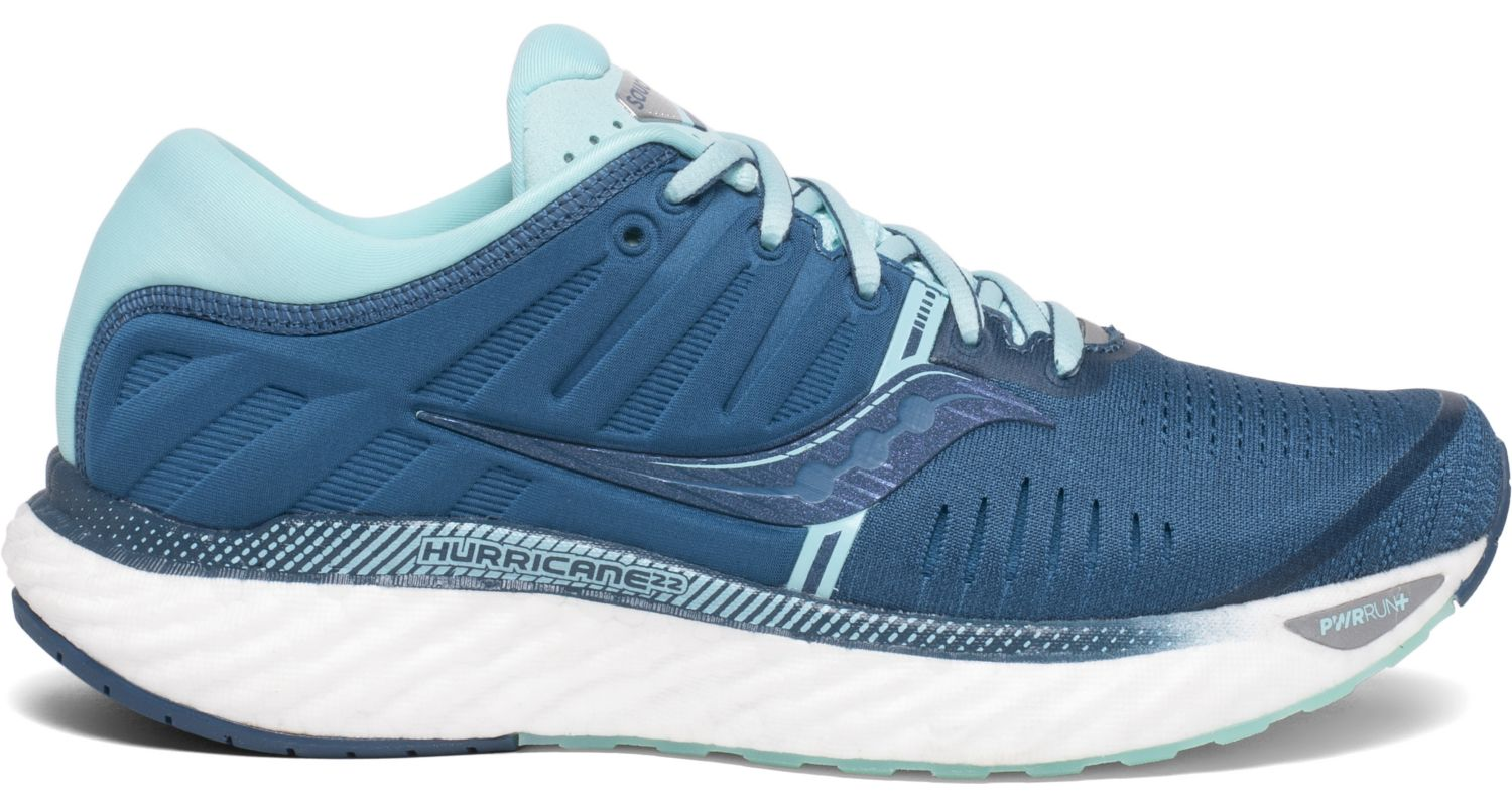 Saucony Women's Hurricane 22 Running Shoe in Blue/Aqua from the side