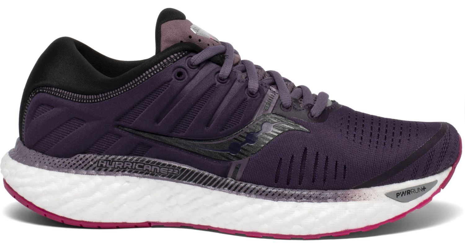 Saucony Women's Hurricane 22 Running Shoe in Dusk/Berry from the side