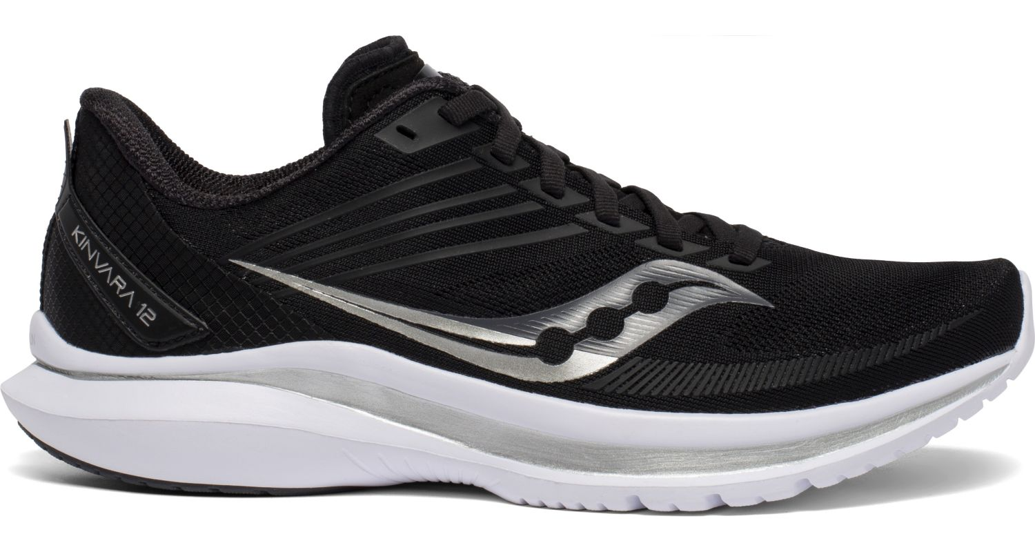 Women's Saucony Kinvara 12 Running Shoe in Black/Silver from the side