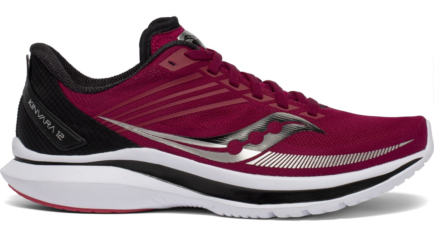 Women's Saucony Kinvara 12 Running Shoe in Cherry/Silver from the side